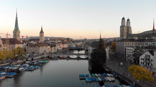 Thumbnail for Aerial cityscape flythrough video of Zurich Switzerland