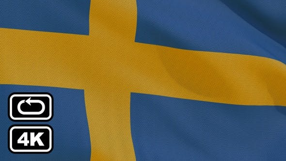 Thumbnail for Sweden Flag 4K Seamless Loop