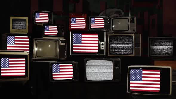 Thumbnail for American Flag on Old Retro TVs.