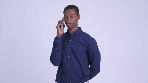 Thumbnail for Young Happy African Businessman Talking on the Phone