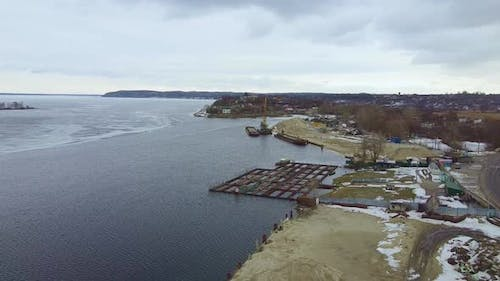 Drone View of City Ship Port