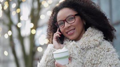 Woman Outdoor Listening Talking on Smart Phone