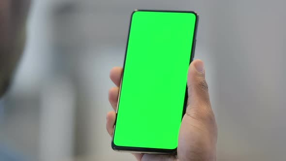 Thumbnail for Using Smartphone with Green Chroma Key Screen Close Up
