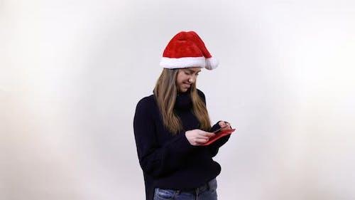 Girl watching greetings cards