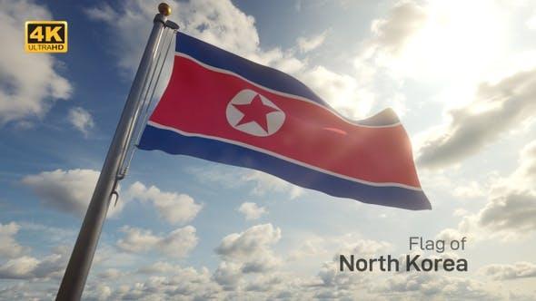 North Korea Flag on a Flagpole - 4K