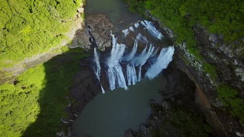 Aerial view of Rochester Falls in Mauritius.