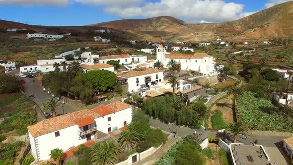 Aerial view of Betancuria village and its Santa Maria Church in Fuerteventura.