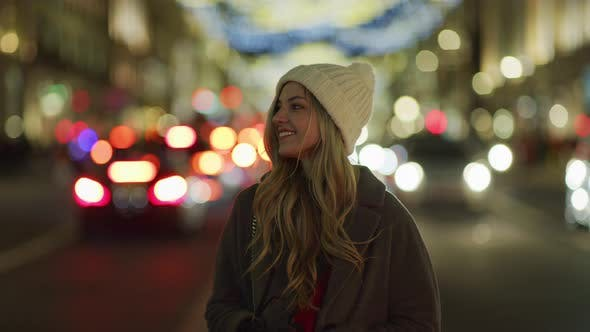 Thumbnail for Girl outdoor on a Christmas night