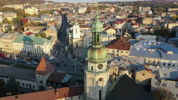 Thumbnail for Aerial Video of Church in Central Part of Old City of Lviv, Ukraine