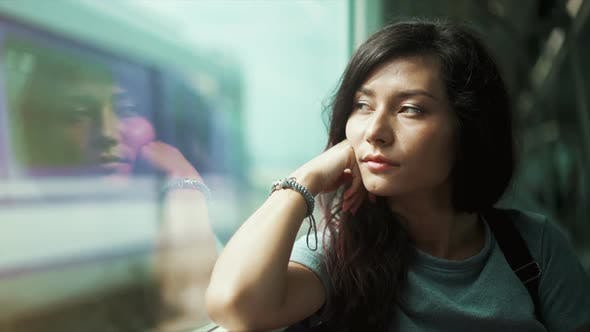 Thumbnail for Beautiful Asian Woman Sitting in Skytrain Metro. City Travel Lifestyle. Thailand Public Transport