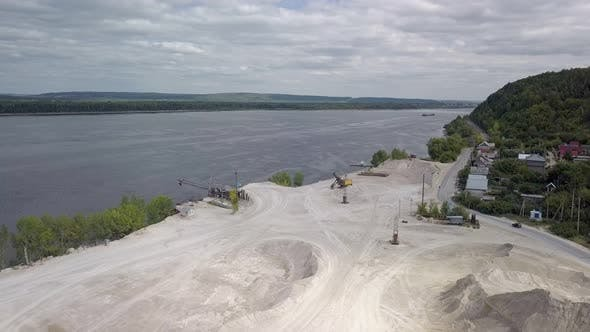 Thumbnail for Aerial View on Area of Mining of Limestone in Sunny Day