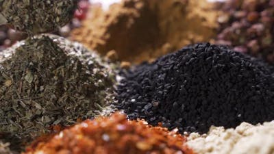 Spices. Various Indian Spices on Wooden Table. Assortment of Seasonings, Condiments. Cooking