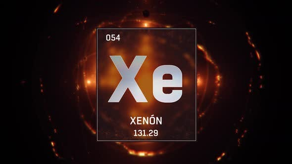 Xenon as Element 54 of the Periodic Table on Orange Background in Spanish Language