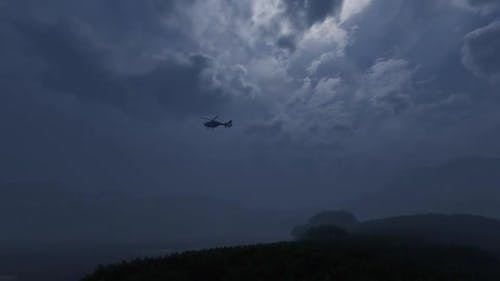 4K - Slow Motion Helicopter Above Jungle