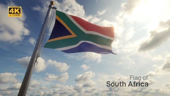 Thumbnail for South Africa Flag on a Flagpole - 4K