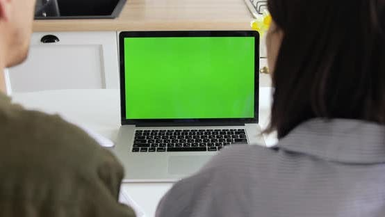 Businessman and woman working from home, computer with green screen. Quarantine, COVID-19
