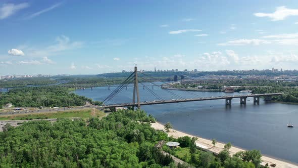 Thumbnail for Aerial View of North Bridge in Kyiv Ukraine at Sunny Summer Day