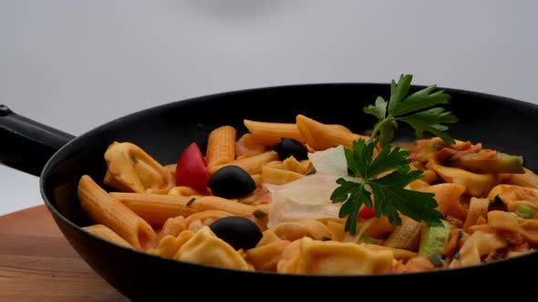 Delicious Restaurant Food Pasta With Seafood
