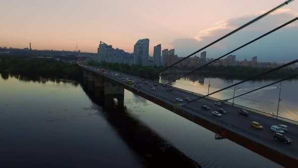 Thumbnail for Car Moving on Suspension Bridge. Drone View Car Traffic on Hanging Bridge