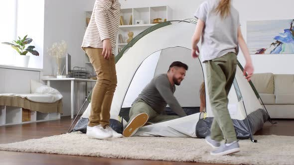 Thumbnail for Happy Family in Tent at Home