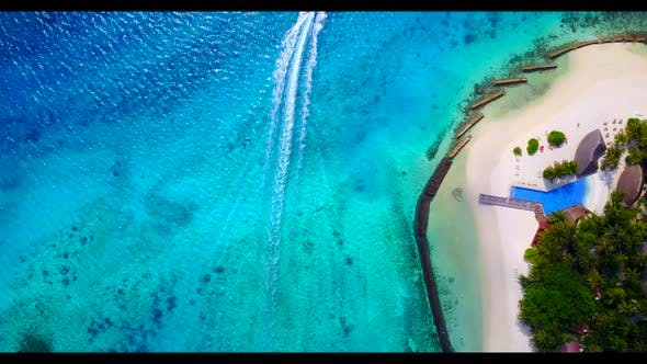 Thumbnail for Aerial drone shot landscape of tropical lagoon beach voyage by aqua blue ocean and white sandy backg