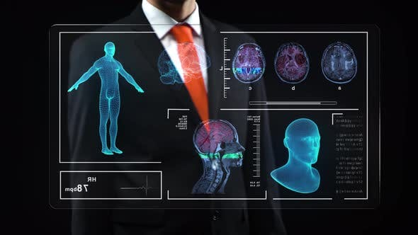 Thumbnail for Male in Black Suit Uses Holographic Interface, Working at Technological Medical Digital Holographic