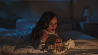 Night Movie Scared Little Girl Watching Horror Tv