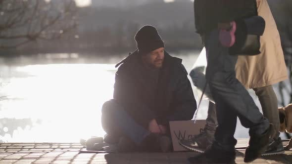 Thumbnail for Homeless War Veteran Male Begging on the Street
