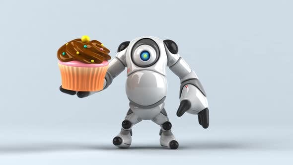 Thumbnail for Big robot with a cupcake