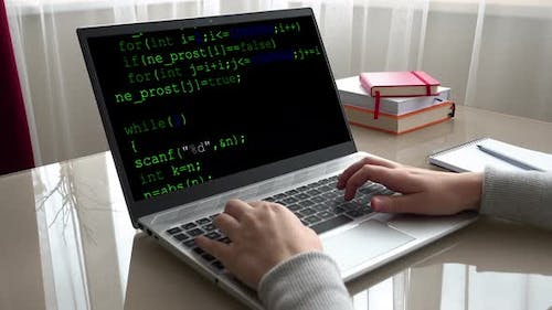 Source code on the monitor screen.