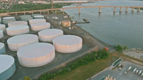 Oil Refinery From Above on Industrial Zone of Oil Tank Industrial Oil Pipelines an Plant the