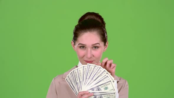 Thumbnail for Woman Won the Jackpot in the Lottery. Green Screen. Slow Motion