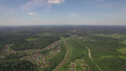 Aerial Shot of Summer Houses in the Woods, Russia