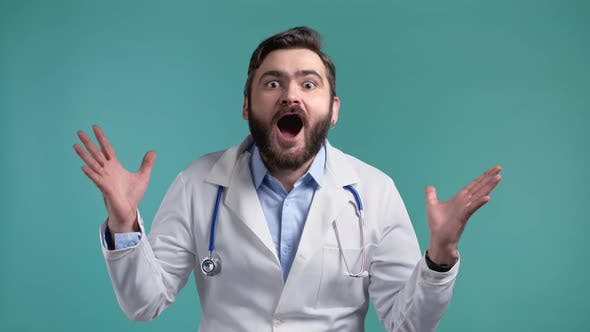 Amazed Doctor Man Shocked Saying WOW