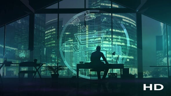 Thumbnail for Silhouette of a web designer on the background of business center skyscrapers HD
