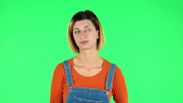 Thumbnail for Woman Is Upset and Tired, Sighs. Green Screen
