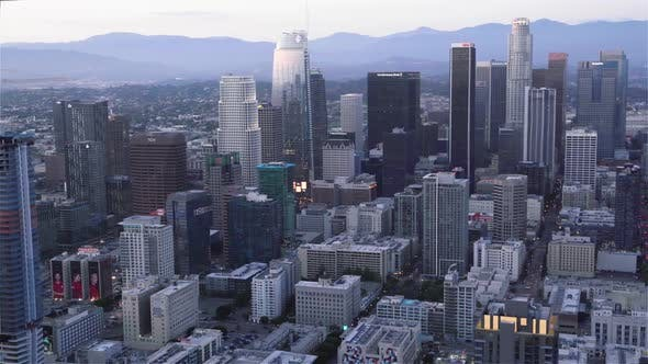 Thumbnail for The Financial district and the Staple center in Los Angeles as seen from a helicopter