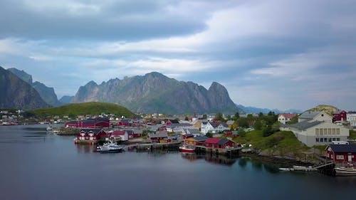 Aerial View of Reine on Lofoten Islands in Norway