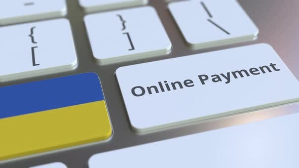 Online Payment Text and Flag of Ukraine on the Keyboard
