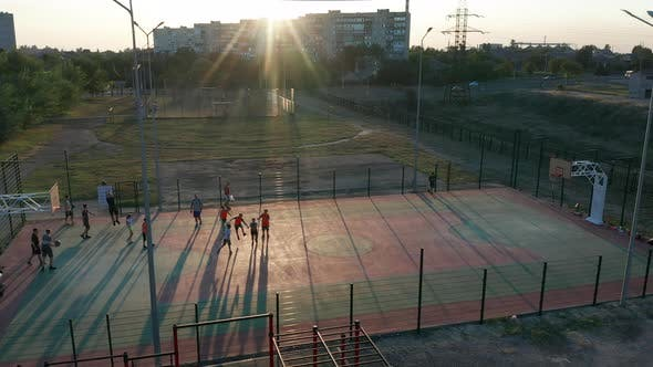Cover Image for Aerial View. Park with a Basketball Field and a Training Platform, Ñ:LSports Area
