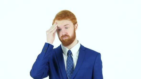 Thumbnail for Headache, Upset Red Hair Beard Businessman, White Background