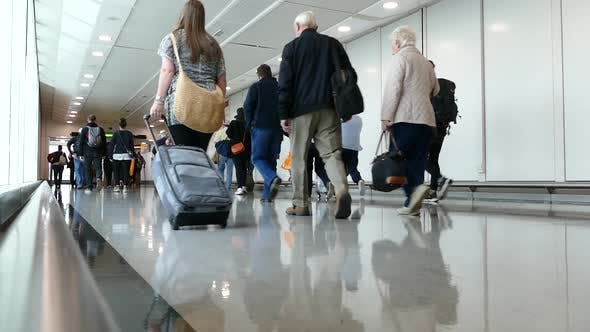 Airport Passangers In Transit Corridor