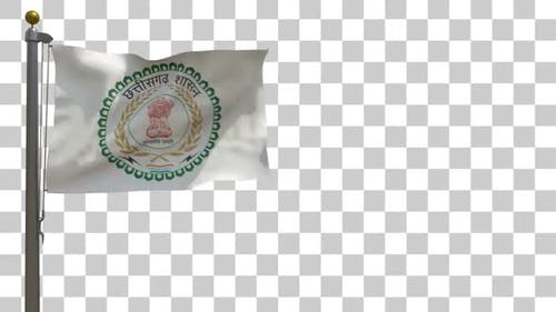 Chhattisgarh Flag (India) on Flagpole with Alpha Channel - 4K