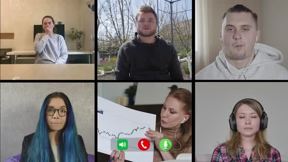 Thumbnail for Multiscreen of Six People Working Remotely