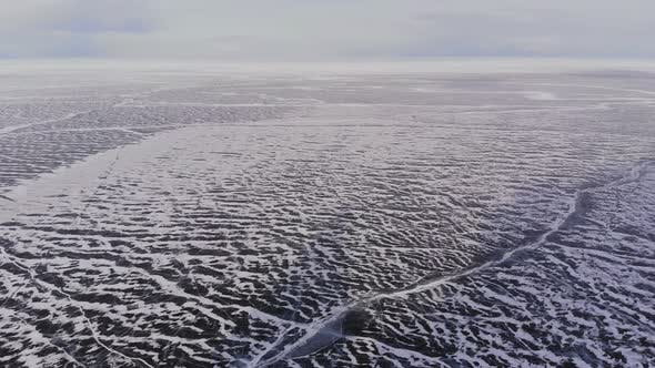 Aerial View of Winter Ice Landscape on Lake Baikal.