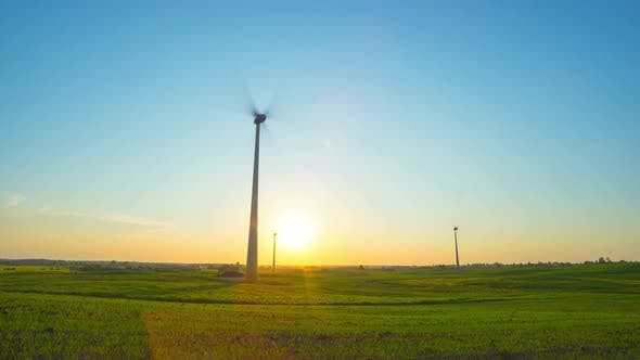 Thumbnail for Wind Turbines in the Field and Sunset