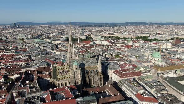 Aerial view of St. Stephen's Cathedral in Vienna, Austria, Europe