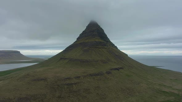 Kirkjufell Mountain and Sea in Summer. Iceland. Aerial View