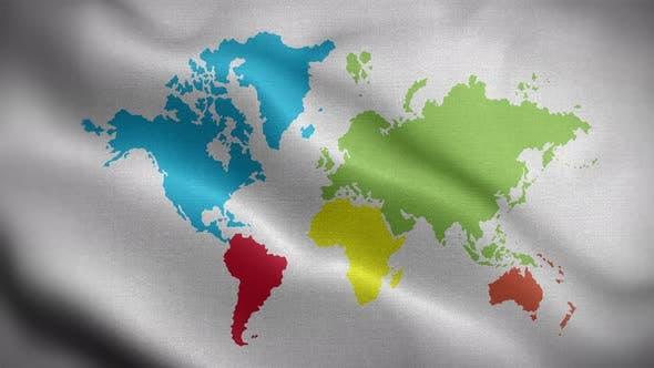 Carte du monde couleur blanche 01 drapeau fond 4K