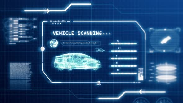 Cover Image for Blue HUD driving vehicle car specification scanning user interface in pixels display background